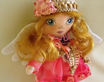 Textile doll angel  Handmade angel doll Doll with wings  interior angel doll   Little angel doll  folk art angel Cloth doll angel