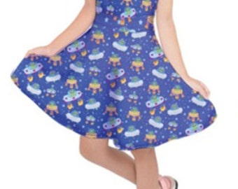Alien Dress UFO Kids Dress Aliens Girls Dress Childrens ****MTO, Month*****