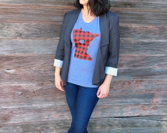 Minnesota Women's Flannel Love T-shirt - Women's Minnesota Tee Buffalo Plaid Screenprinted by Oh Geez! Design