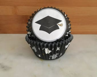 Graduation Cupcake Liners, Standard Sized, Baking Cups (50)