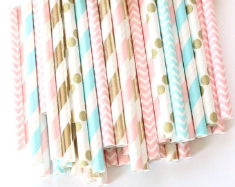 Gender reveal straws-set of 25, gender reveal party, pink, blue and gold straws, baby showers, weddings, cotton candy straws