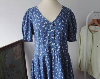 Vintage Laura Ashley 100% cotton blue purple dress