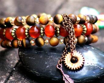 Tiger eye memory wire charm bracelet
