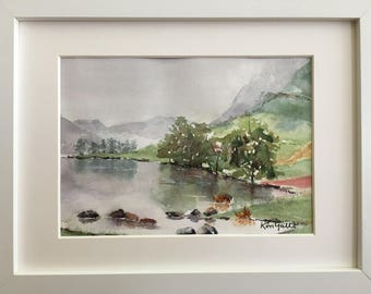 Lake Buttermere, Lake District, UK, Framed Original Watercolour Painting