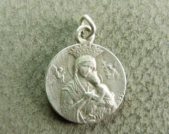 french Antique Religious Silver Pendant Queen Virgin Mary & Jesus Angels by OBC