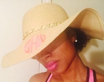 Monogrammed floppy beach hat, monogrammed hat, floppy hat with initals, sunhat, AKA gift, gift, birthday gift, derby hat, bridal hats