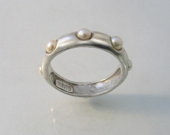 The Pearls of Silver Ring - silver band with pearls