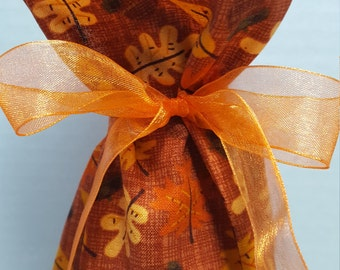 Wine Bottle Gift Bag Fall Leaves Acorns