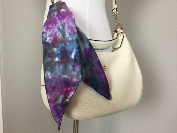 "20"" Purse Scarf or Luggage Identifer, 100% Silk Satin,  Ice Dye Tie Dye Blue Purple Pink Green Purse Scarves #209"