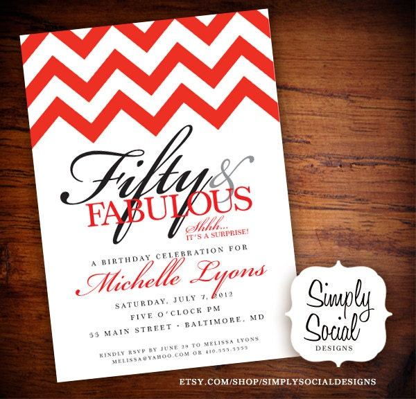 Surprise 50th birthday party invitation with chevron filmwisefo Gallery