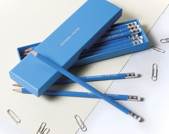 High Quality Personalised Pencils in a Box -Printed with Name - OCEAN BLUE (plus other colours)