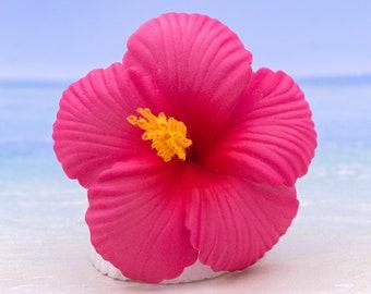 Hot Pink Hibiscus, 2 3/4 Inch Hair Flower, Beach Wedding, Hibiscus Clips