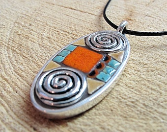 Mosaic Pendant, Mosaic Jewelry, Mosaic Art, Mosaic Necklace, Ceramic Tile, Turquoise, Pewter, Art Jewelry