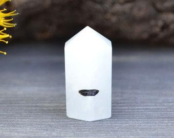Tourmaline Quartz Point (25mm x 15mm x 13mm) - Tourmaline Quartz Obelisk - Tourmaline Tower - Tourmaline Wand - Healing Crystals