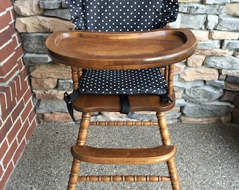 High Chair Cover. High chair pad. high chair cushion. highchair cover. wooden high chair pad. highchair cushion.  highchair pad. vintage