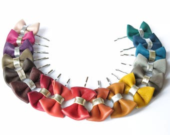 Leather knot hair clips, choice color