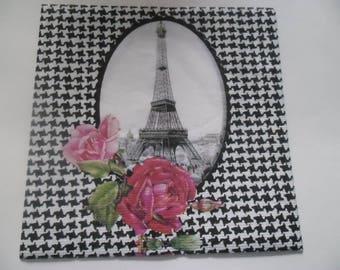 1 paper towel depicting the tour Eiffel 30 x 30 cm