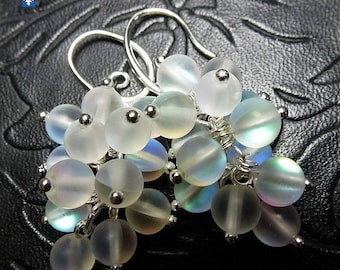Adorable Multicolore Luminous Clear Frosted Czech Glass  Plated Silver Earrings