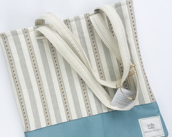 Tote Bag- Stipes and Blue
