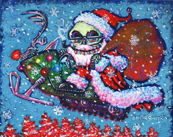 Original Skeleton Santa Claus on Snowmobile Acrylic and Fluorescent Painting by Mister Reusch