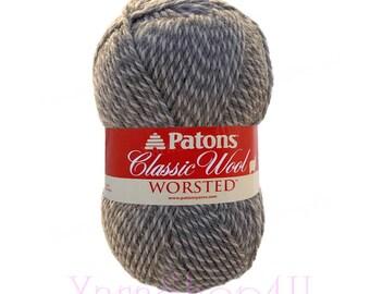 LIGHT GREY MARL, Patons Classic Wool yarn, Pure Wool for Felting, Gray Medium Wool yarn, 100 grams 210 yards, gray and white twisted wool √