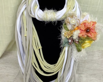 Fabric jewelry Necklace  boho style bohemian fiber art jewelry ribbon work fabric flowers eco jewelry recycled cotton, crochet, necklace