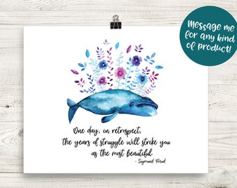 Sigmund Freud Quote 8x10 Art Print - Mental Health Awareness, Watercolor, Whale, Psychology, Mindfulness, Meditation, Flowers