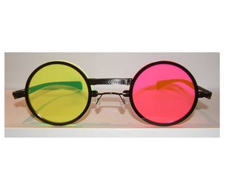 Anime flourescent green and pink oversize round cosplay costume glasses