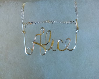 ALICE or ANY Wire Name in your choice of metals teen gift tween gift personalized gift unique gift wire name jewelry