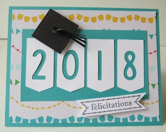 "Graduation Card, Congratulations Card, Graduation 2018 Card ""Turquoise"" English or French"