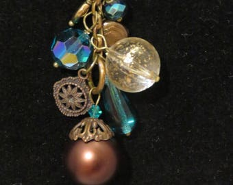 Gorgeous Long 30 inch beaded aqua and copper cluster necklace