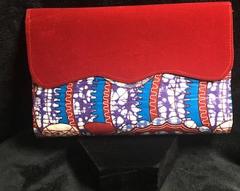 Red, blue & white african print clutch bag