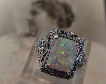Lovely Sterling Silver Filigree Opal Ring  Size 6.5 Victorian design