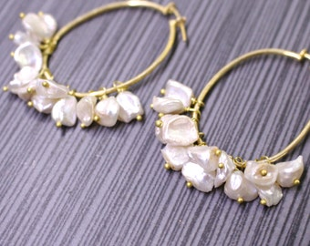 Natural Cream Hued Keshi Pearl, 22kg vermeil Hoop Focal Earrings....