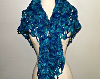 Blue Oversized Shawl Triangle Scarf  Crochet Oversized Boho Festival Cowl Wrap Scarf Wrap With Brooch