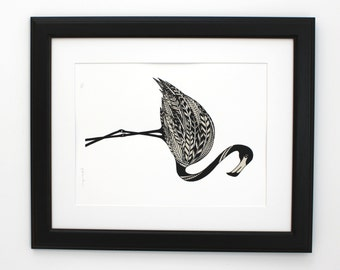 Flamingo screenprint, limited edition, hand printed flamingo in black and taupe, 35 x 50cm