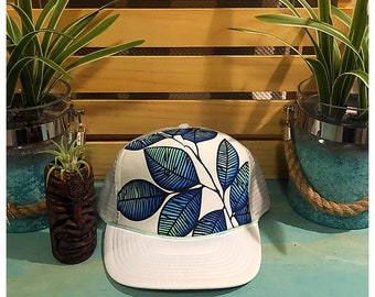 Leaf ombre hand painted trucker hat