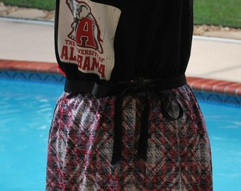 University of Alabama Crimson Tide Houndstooth Back Game Day Tank Dress with Tie Waist Size Large