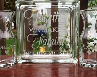 5 Piece Personalized Sand Ceremony Set - Glass Block - Together We Make A Family - Pouring Vases - Blended Family Set - Etched Glass