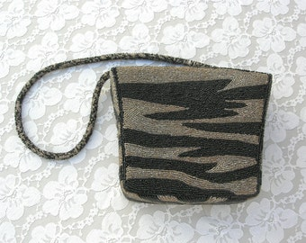 Lovely Black & Gold Beaded Evening Bag, beaded shoulder strap, great for a dressy outfit, vintage