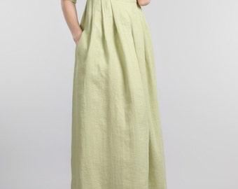 Green linen dress, full length dress, linen dress, maxi dress ,party dress, ankle length dress ,linen clothing,eco, organic , summer dress