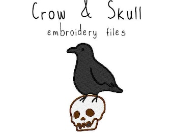 Crow and skull EMBROIDERY MACHINE FILES pattern design hus jef pes dst all formats halloween holiday Instant Download digital applique cute