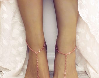 Minimalist Rose Gold Barefoot Sandals Minimalist Jewelry Anklet Rose Gold Chain Foot Chain Gypsy Sandals Boho Jewelry Rose Gold Anklet