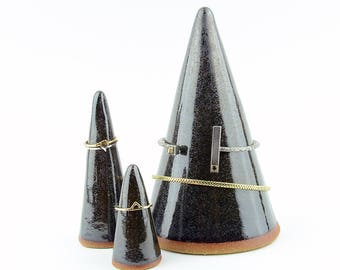 Set of Bracelet and Ring Cones - Jewelry Display Holders - Hand Made Stoneware Ceramic - Metallic Black