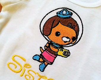 Octonauts Dashi - Kwazi - Captain Barnacles - Tweak for Dad Mom Brother Sister or Any Birthday Number Embroidered Personalizing Shirt Onesie