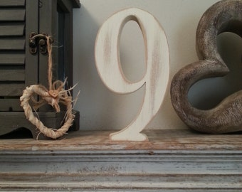 Decorative Freestanding Wedding Table Numbers - Georgian Font - 20cm high - Number 9
