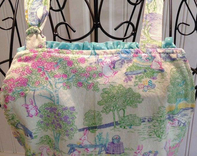 Daughter apron, Aqua toile, child's full apron, full apron, bunny toile, aqua ruffle trim, aqua dot, Ruffled pockets, Mother daughter apron
