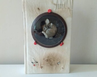 textile art the rabbit  hole bunny sculpture whimsical OOAK vintage fairy book gift one of a kind