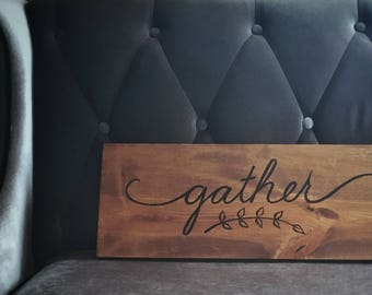 Gather Sign Wall Art Farmhouse Decor Gather Wood Sign Home Decor Farmhouse Sign for Kitchen Farmhouse Decor Wall Art Rustic Wood Signs