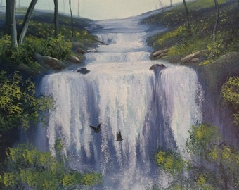 """Oil on Canvas Painting, """"Birds in the Waterfall,"""" Size 16 in. x 20 in. by Arthur Wharton"""